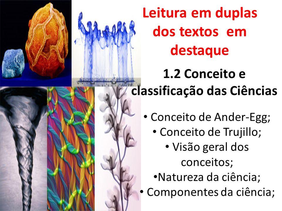 1.2 Conceito e classificação das Ciências Conceito de Ander-Egg; Conceito de Trujillo; Visão geral dos conceitos; Natureza da ciência; Componentes da ciência; Leitura em duplas dos textos em destaque