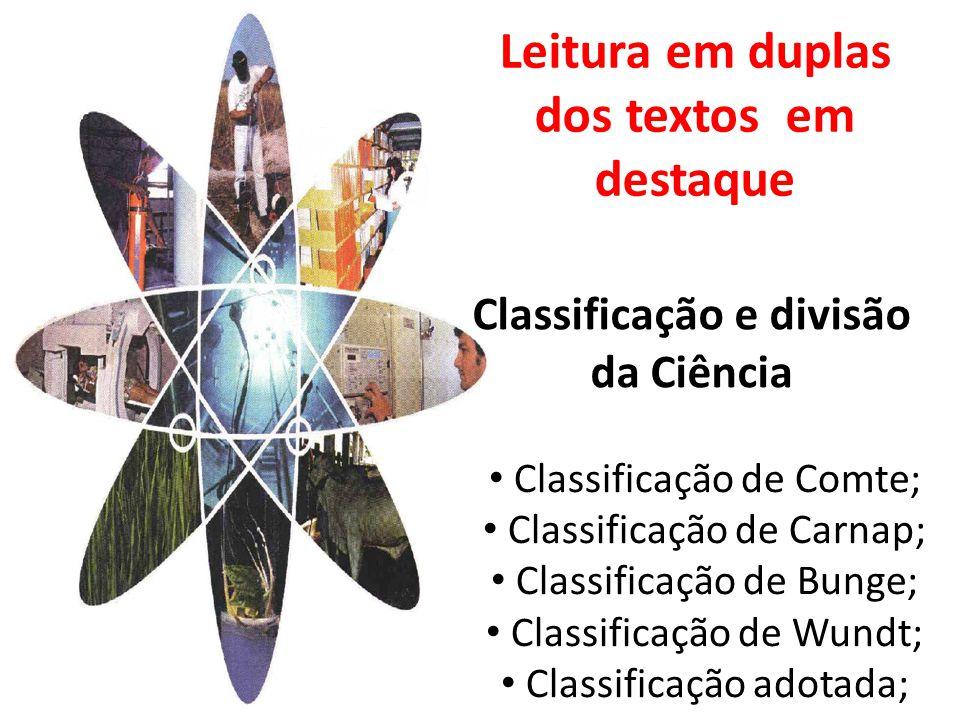 Classificação e divisão da Ciência Classificação de Comte; Classificação de Carnap; Classificação de Bunge; Classificação de Wundt; Classificação adotada; Leitura em duplas dos textos em destaque