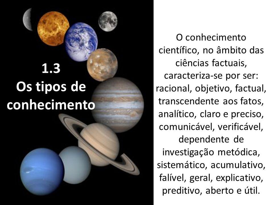 1.3 Os tipos de conhecimento O conhecimento científico, no âmbito das ciências factuais, caracteriza-se por ser: racional, objetivo, factual, transcendente aos fatos, analítico, claro e preciso, comunicável, verificável, dependente de investigação metódica, sistemático, acumulativo, falível, geral, explicativo, preditivo, aberto e útil.