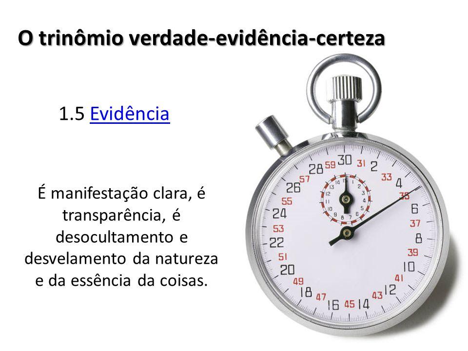 1.5 EvidênciaEvidência O trinômio verdade-evidência-certeza É manifestação clara, é transparência, é desocultamento e desvelamento da natureza e da essência da coisas.