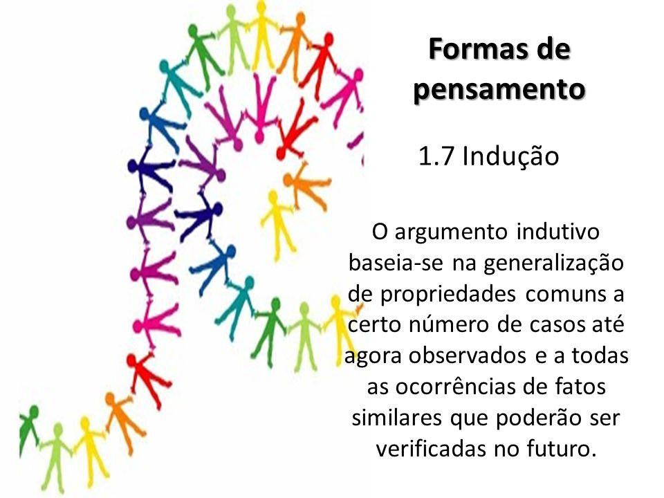 1.7 Indução Formas de pensamento O argumento indutivo baseia-se na generalização de propriedades comuns a certo número de casos até agora observados e