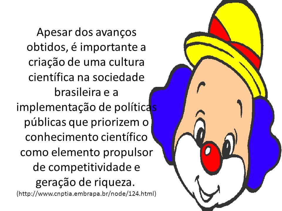 Apesar dos avanços obtidos, é importante a criação de uma cultura científica na sociedade brasileira e a implementação de políticas públicas que priorizem o conhecimento científico como elemento propulsor de competitividade e geração de riqueza.