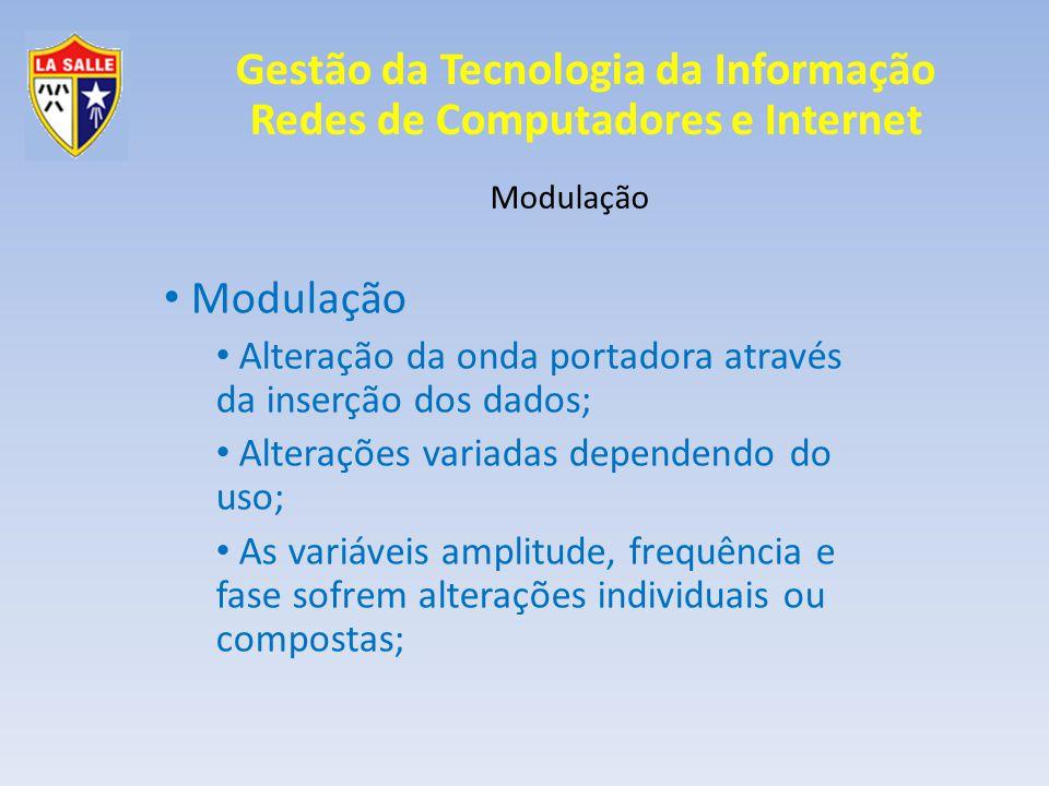 Gestão da Tecnologia da Informação Redes de Computadores e Internet Modulação A mais conhecidas alteram uma variável somente: AM -> amplitude modulada; FM -> frequência modulada;
