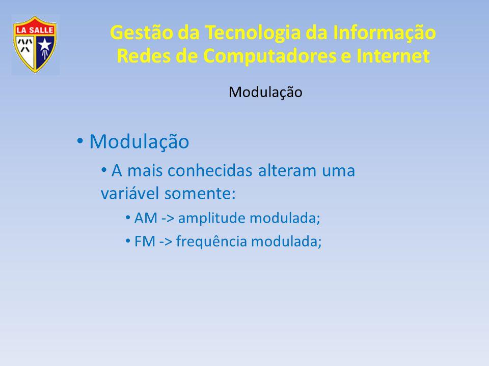 Gestão da Tecnologia da Informação Redes de Computadores e Internet Modulação Modulação Pulso Portadora digital Sinal analógico O sinal em ondas é convertido em pulsos; PCM -> Modulação por código de pulsos;