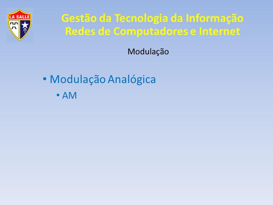 Gestão da Tecnologia da Informação Redes de Computadores e Internet Modulação Modulação Digital FSK - BFSK