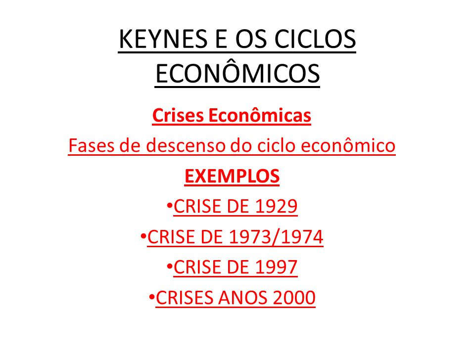 KEYNES E OS CICLOS ECONÔMICOS Crises Econômicas Fases de descenso do ciclo econômico EXEMPLOS CRISE DE 1929 CRISE DE 1973/1974 CRISE DE 1997 CRISES ANOS 2000