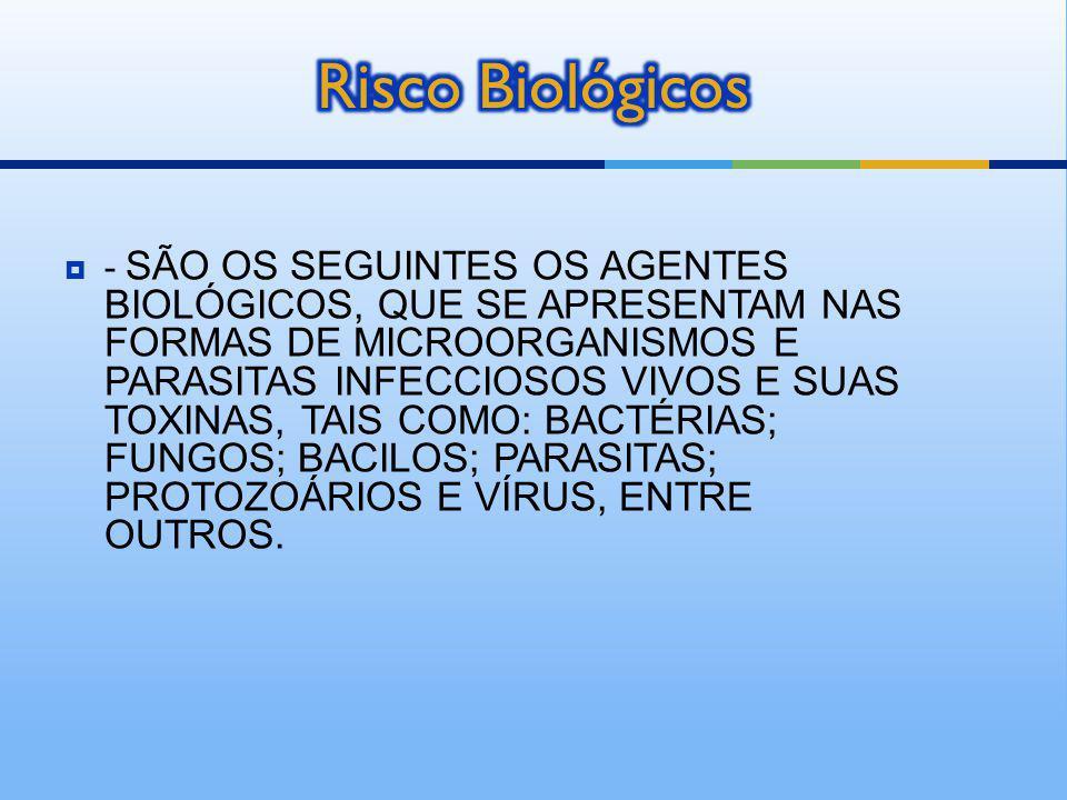 - SÃO OS SEGUINTES OS AGENTES BIOLÓGICOS, QUE SE APRESENTAM NAS FORMAS DE MICROORGANISMOS E PARASITAS INFECCIOSOS VIVOS E SUAS TOXINAS, TAIS COMO: BAC