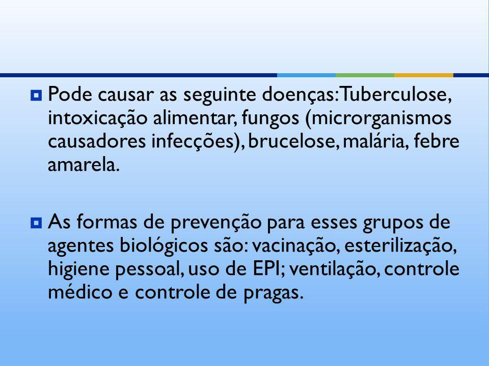 Pode causar as seguinte doenças: Tuberculose, intoxicação alimentar, fungos (microrganismos causadores infecções), brucelose, malária, febre amarela.
