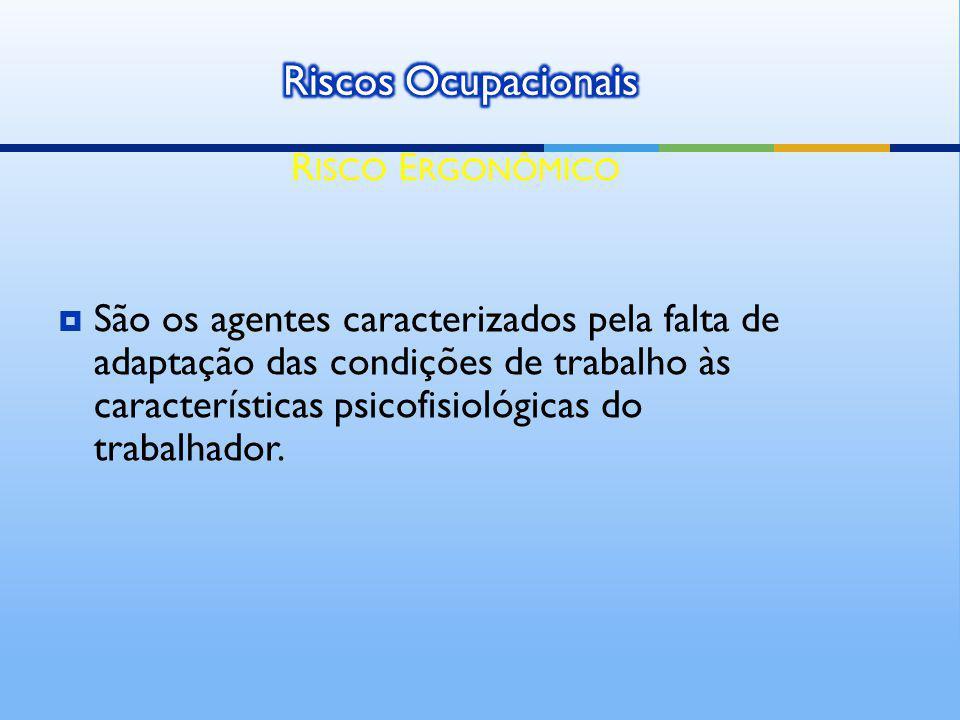 São os agentes caracterizados pela falta de adaptação das condições de trabalho às características psicofisiológicas do trabalhador. R ISCO E RGONÔMIC