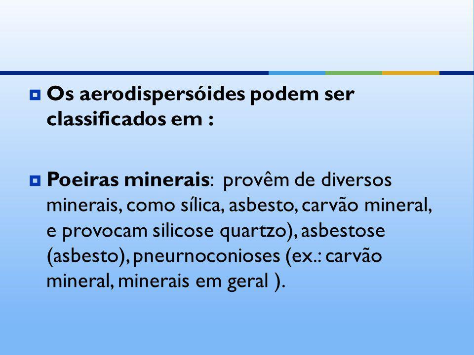 Os aerodispersóides podem ser classificados em : Poeiras minerais: provêm de diversos minerais, como sílica, asbesto, carvão mineral, e provocam silic
