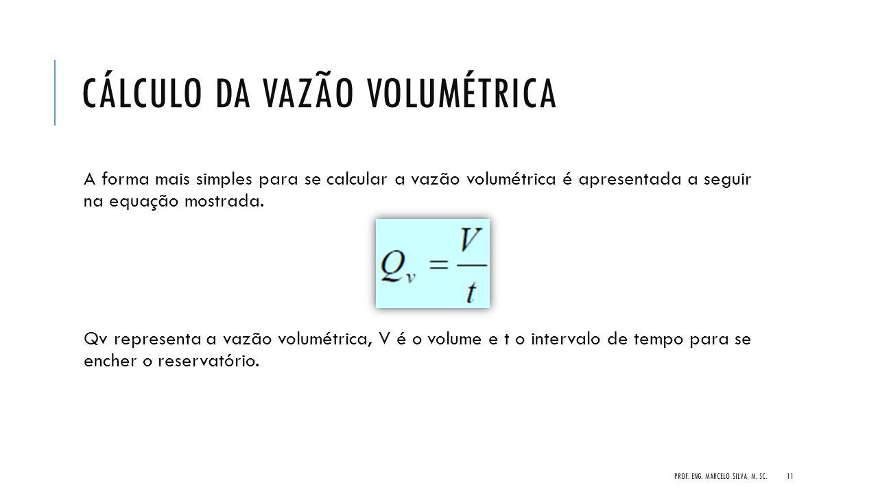 CÁLCULO DA VAZÃO VOLUMÉTRICA A forma mais simples para se calcular a vazão volumétrica é apresentada a seguir na equação mostrada. Qv representa a vaz