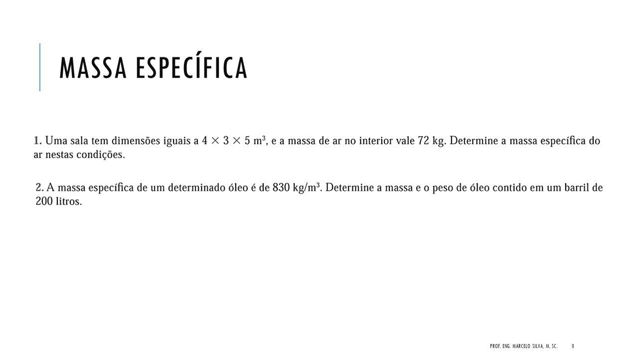 MASSA ESPECÍFICA PROF. ENG. MARCELO SILVA, M. SC.8