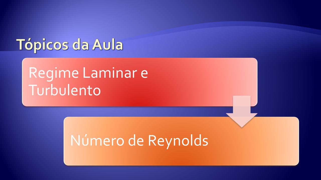 Regime Laminar e Turbulento Número de Reynolds