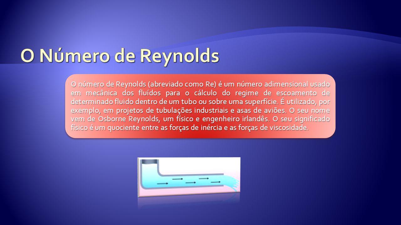 O número de Reynolds (abreviado como Re) é um número adimensional usado em mecânica dos fluídos para o cálculo do regime de escoamento de determinado