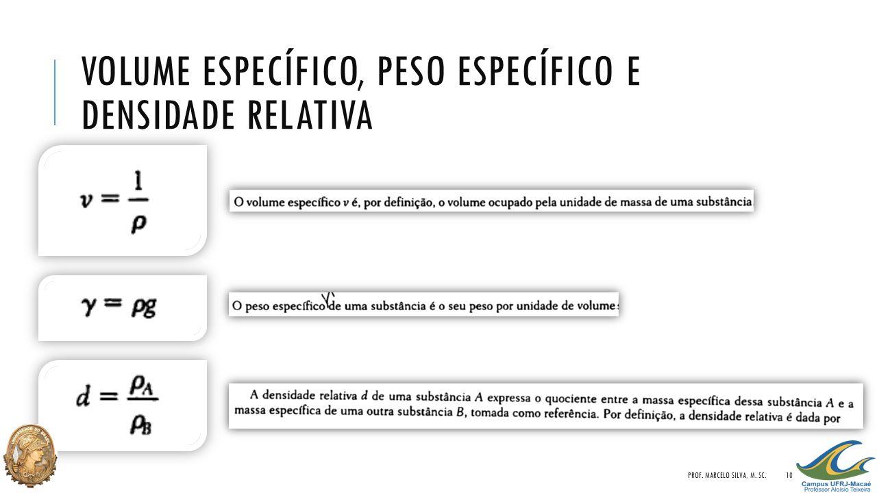 VOLUME ESPECÍFICO, PESO ESPECÍFICO E DENSIDADE RELATIVA PROF. MARCELO SILVA, M. SC.10