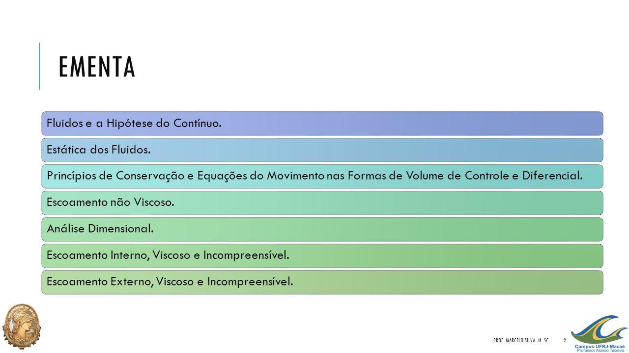 EMENTA Fluidos e a Hipótese do Contínuo.Estática dos Fluidos.Princípios de Conservação e Equações do Movimento nas Formas de Volume de Controle e Dife
