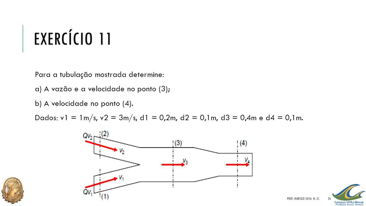EXERCÍCIO 11 Para a tubulação mostrada determine: a) A vazão e a velocidade no ponto (3); b) A velocidade no ponto (4). Dados: v1 = 1m/s, v2 = 3m/s, d