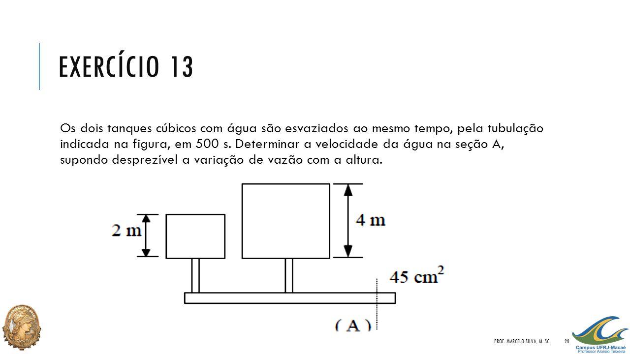 EXERCÍCIO 13 Os dois tanques cúbicos com água são esvaziados ao mesmo tempo, pela tubulação indicada na figura, em 500 s. Determinar a velocidade da á