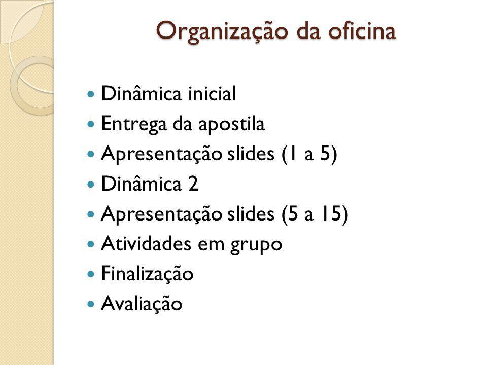 Organização da oficina Dinâmica inicial Entrega da apostila Apresentação slides (1 a 5) Dinâmica 2 Apresentação slides (5 a 15) Atividades em grupo Finalização Avaliação