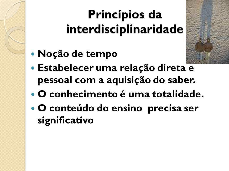 Princípios da interdisciplinaridade Noção de tempo Estabelecer uma relação direta e pessoal com a aquisição do saber.