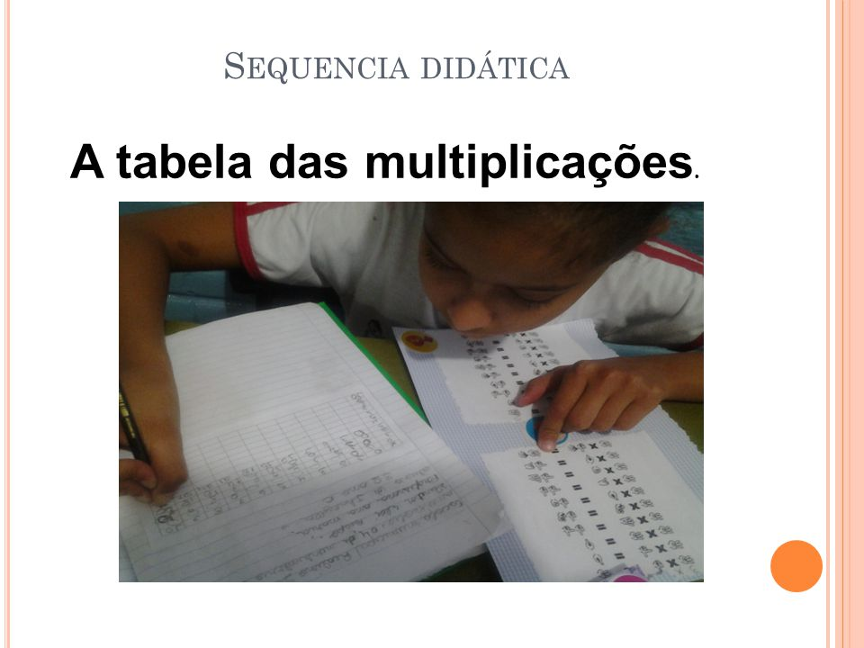 S EQUENCIA DIDÁTICA A tabela das multiplicações.