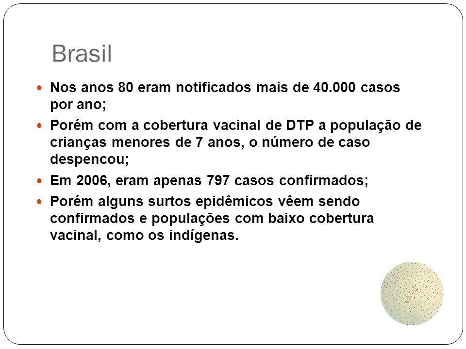 Brasil Nos anos 80 eram notificados mais de 40.000 casos por ano; Porém com a cobertura vacinal de DTP a população de crianças menores de 7 anos, o nú