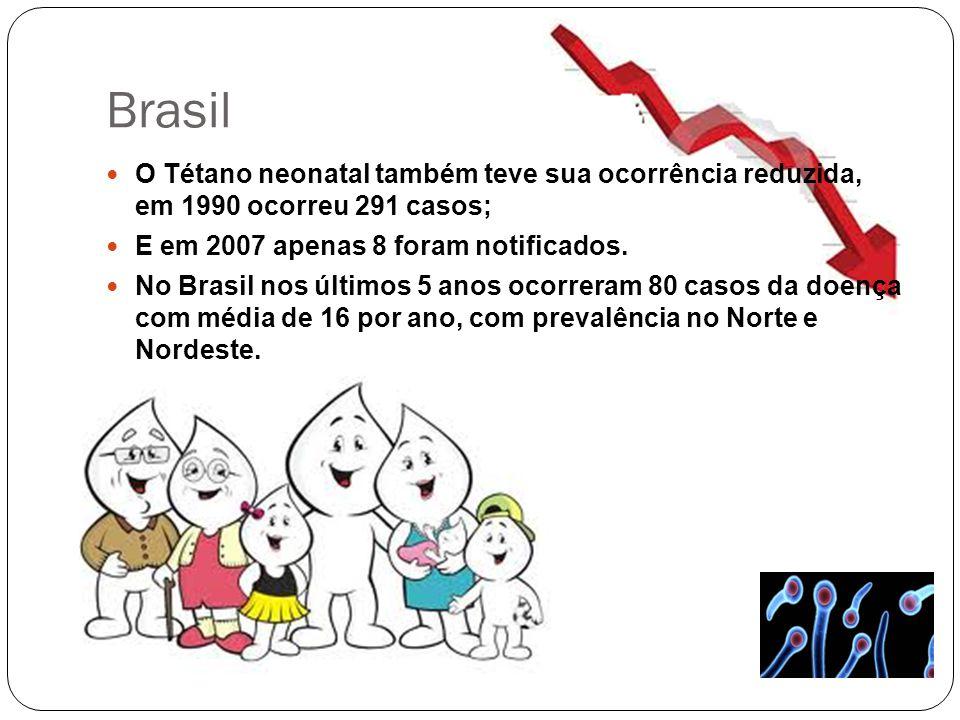 Brasil O Tétano neonatal também teve sua ocorrência reduzida, em 1990 ocorreu 291 casos; E em 2007 apenas 8 foram notificados. No Brasil nos últimos 5