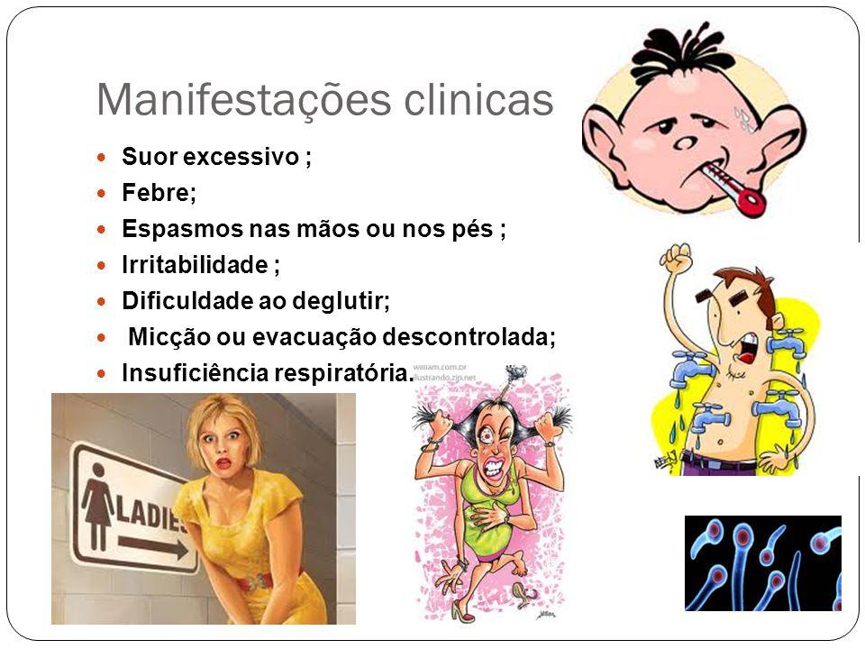 Manifestações clinicas Suor excessivo ; Febre; Espasmos nas mãos ou nos pés ; Irritabilidade ; Dificuldade ao deglutir; Micção ou evacuação descontrol