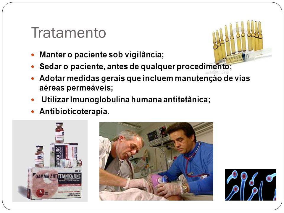 Tratamento Manter o paciente sob vigilância; Sedar o paciente, antes de qualquer procedimento; Adotar medidas gerais que incluem manutenção de vias aé