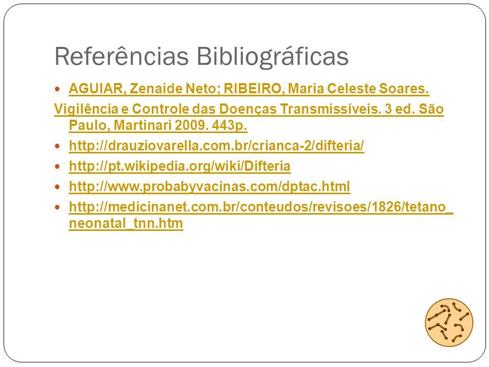 Referências Bibliográficas AGUIAR, Zenaide Neto; RIBEIRO, Maria Celeste Soares. Vigilência e Controle das Doenças Transmissíveis. 3 ed. São Paulo, Mar