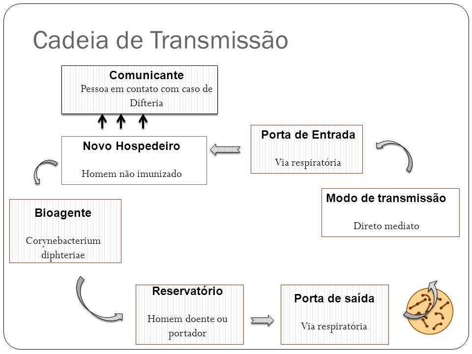 Cadeia de Transmissão Comunicante Pessoa em contato com caso de Difteria Novo Hospedeiro Homem não imunizado Porta de Entrada Via respiratória Bioagen