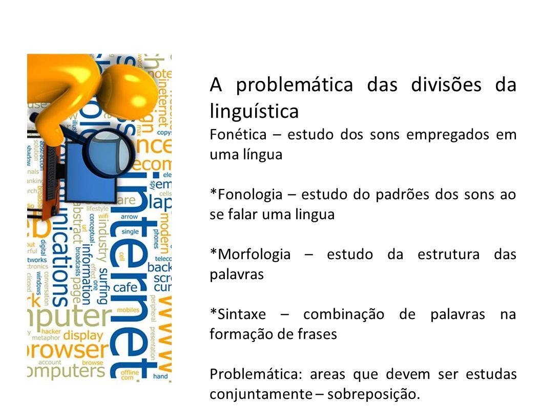 A problemática das divisões da linguística Semântica: estudo dos sentidos das frases e palavras Pragmática – oralidade x atos comunicativos Problemática: áreas que se sobrepõem para os linguistas cognitivos.