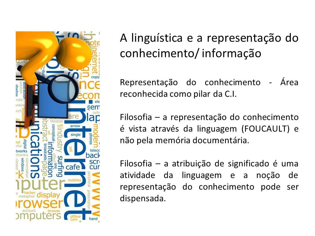 A linguística e a representação do conhecimento/ informação Representação do conhecimento - Área reconhecida como pilar da C.I.