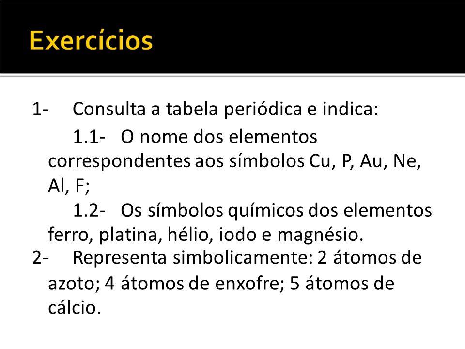 1-Consulta a tabela periódica e indica: 1.1- O nome dos elementos correspondentes aos símbolos Cu, P, Au, Ne, Al, F; 1.2- Os símbolos químicos dos ele