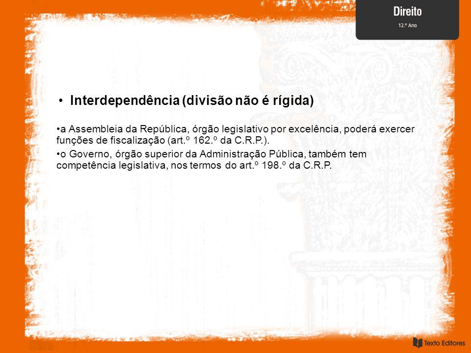 Interdependência (divisão não é rígida) a Assembleia da República, órgão legislativo por excelência, poderá exercer funções de fiscalização (art.º 162