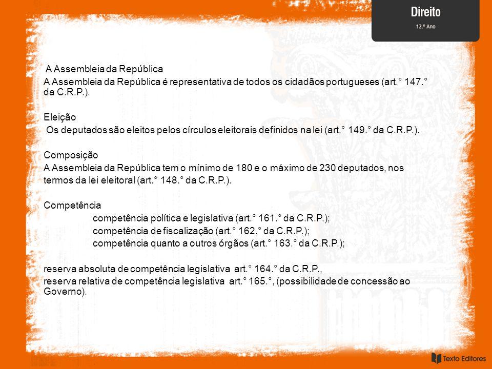 A Assembleia da República A Assembleia da República é representativa de todos os cidadãos portugueses (art.° 147.° da C.R.P.). Eleição Os deputados sã