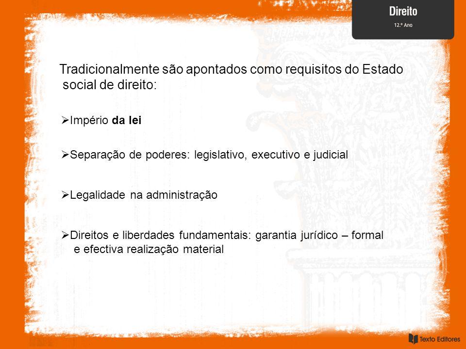 Tradicionalmente são apontados como requisitos do Estado social de direito: Império da lei Separação de poderes: legislativo, executivo e judicial Leg