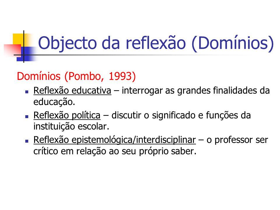 Objecto da reflexão (Domínios) Domínios (Pombo, 1993) Reflexão educativa – interrogar as grandes finalidades da educação.