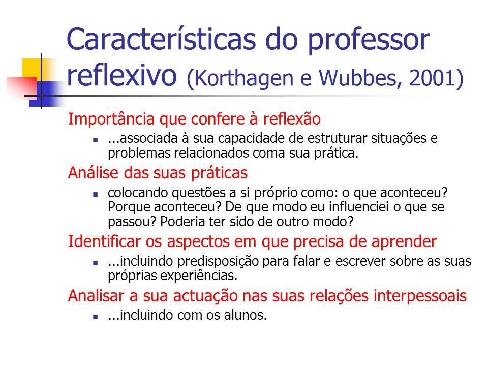 Características do professor reflexivo (Korthagen e Wubbes, 2001) Importância que confere à reflexão...associada à sua capacidade de estruturar situações e problemas relacionados coma sua prática.