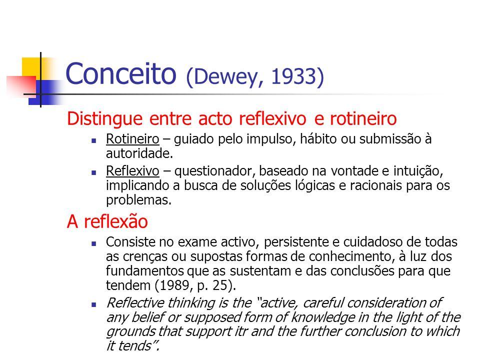 Conceito (Dewey, 1933) Distingue entre acto reflexivo e rotineiro Rotineiro – guiado pelo impulso, hábito ou submissão à autoridade.