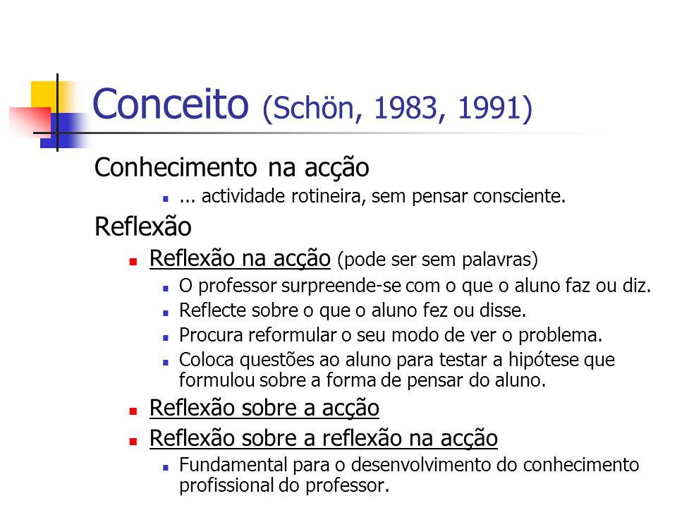 Conceito (Schön, 1983, 1991) Conhecimento na acção...
