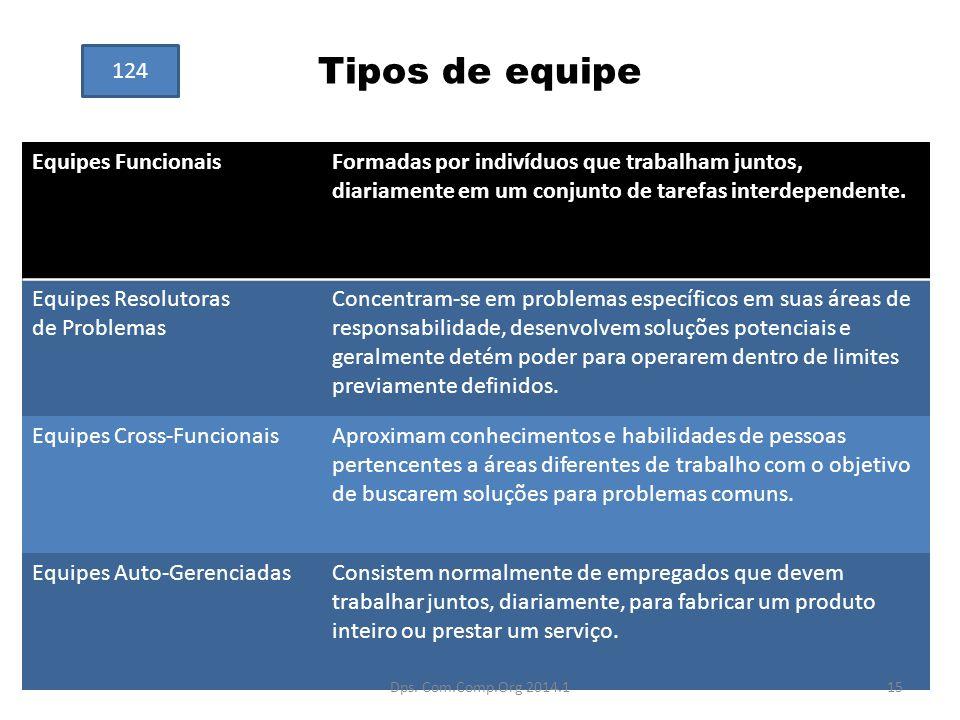Tipos de equipe Equipes FuncionaisFormadas por indivíduos que trabalham juntos, diariamente em um conjunto de tarefas interdependente. Equipes Resolut