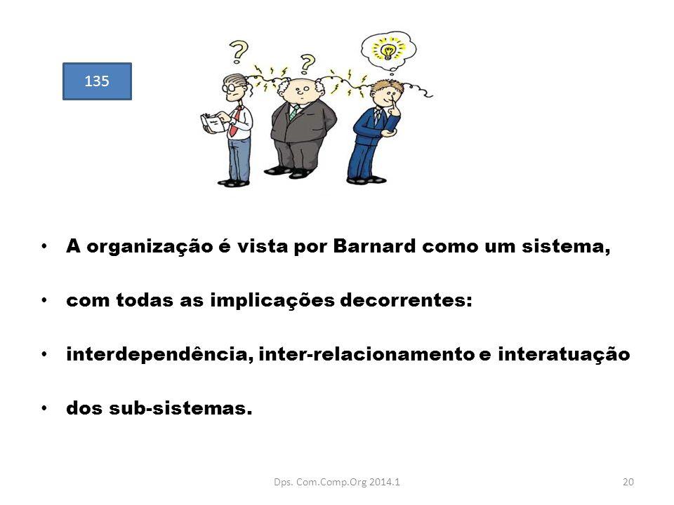 A organização é vista por Barnard como um sistema, com todas as implicações decorrentes: interdependência, inter-relacionamento e interatuação dos sub