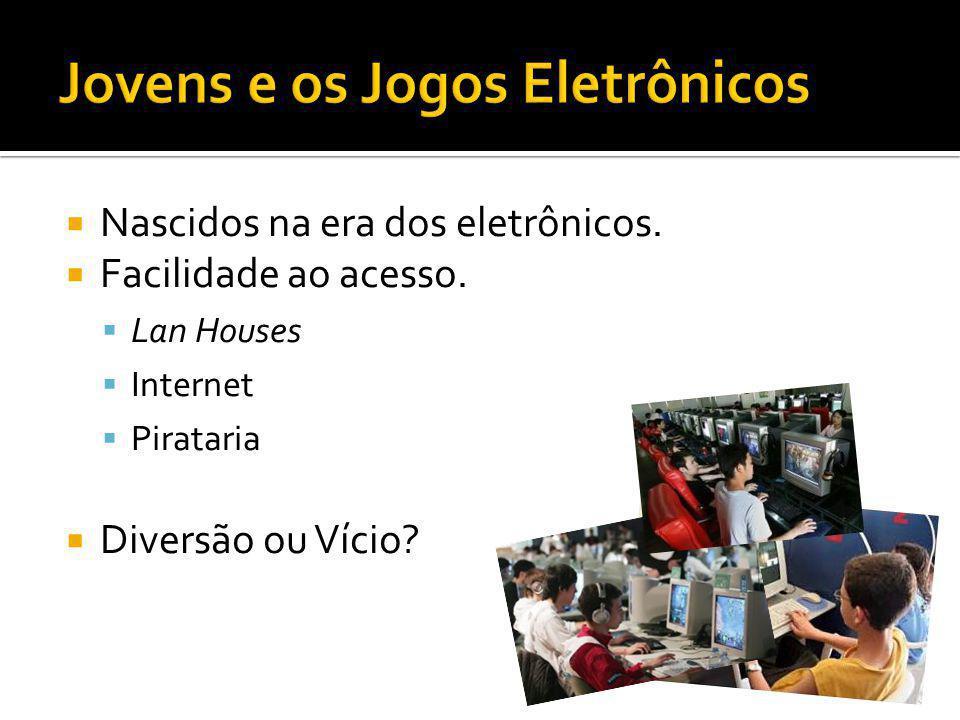 Nascidos na era dos eletrônicos. Facilidade ao acesso. Lan Houses Internet Pirataria Diversão ou Vício?
