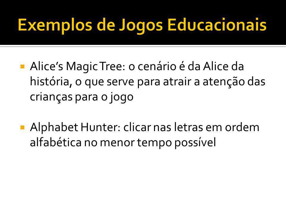 Alices Magic Tree: o cenário é da Alice da história, o que serve para atrair a atenção das crianças para o jogo Alphabet Hunter: clicar nas letras em