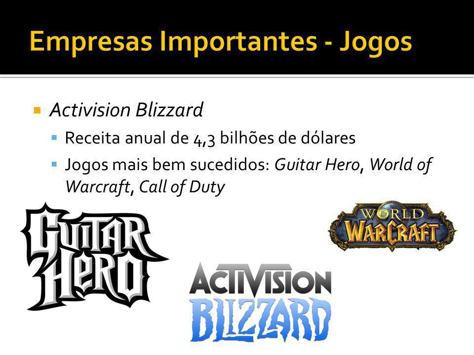 Activision Blizzard Receita anual de 4,3 bilhões de dólares Jogos mais bem sucedidos: Guitar Hero, World of Warcraft, Call of Duty