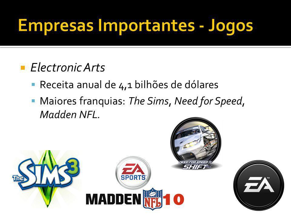 Electronic Arts Receita anual de 4,1 bilhões de dólares Maiores franquias: The Sims, Need for Speed, Madden NFL.