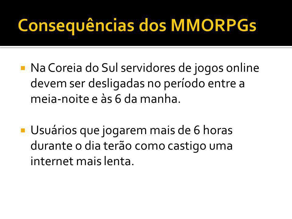Na Coreia do Sul servidores de jogos online devem ser desligadas no período entre a meia-noite e às 6 da manha. Usuários que jogarem mais de 6 horas d