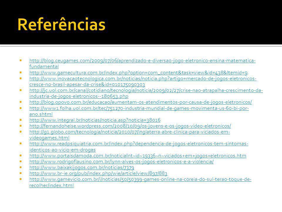 http://blog.ceugames.com/2009/07/06/aprendizado-e-diversao-jogo-eletronico-ensina-matematica- fundamental http://blog.ceugames.com/2009/07/06/aprendiz