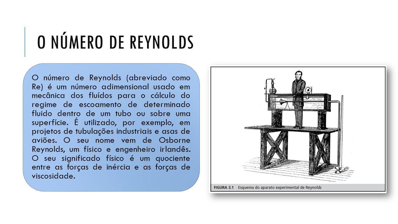 O NÚMERO DE REYNOLDS O número de Reynolds (abreviado como Re) é um número adimensional usado em mecânica dos fluídos para o cálculo do regime de escoa